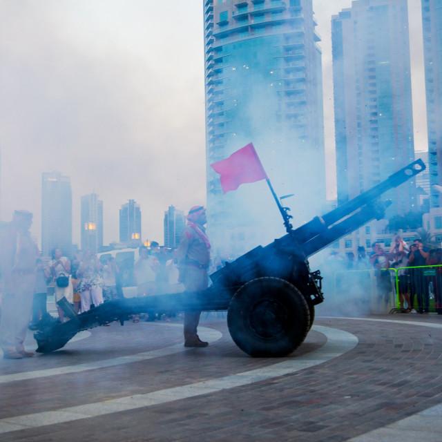 """Dubai, United Arab Emirates - May 18, 2018: Ramadan Canon firing"" stock image"