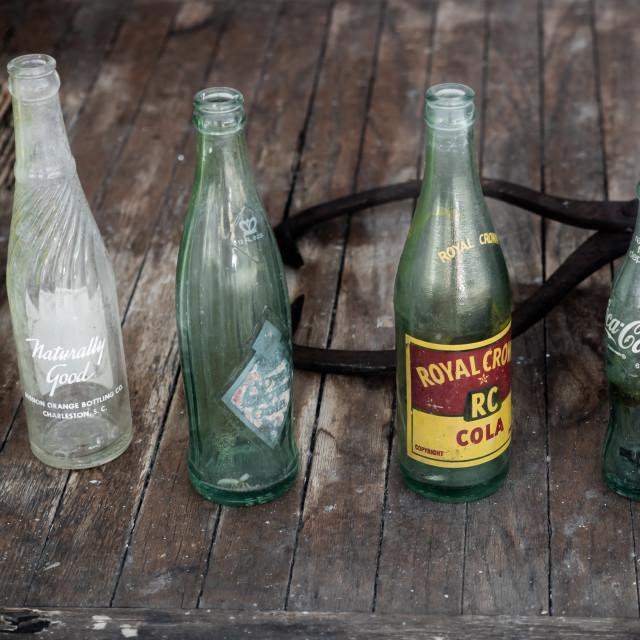 """""""VINTAGE SODA BOTTLES - ROYAL CROWN COLA, COCA COLA"""" stock image"""