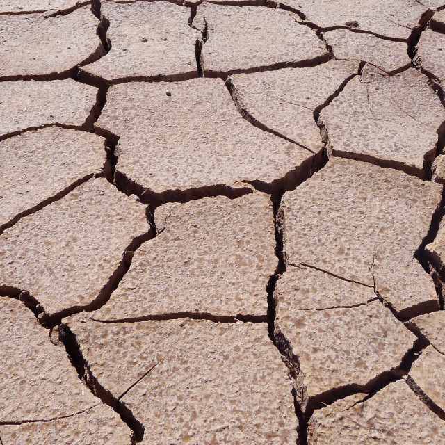 """Dried up sand in the desert"" stock image"