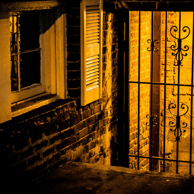 """WROUGHT IRON GATE , WINDOW AND STAIRWELL"" stock image"