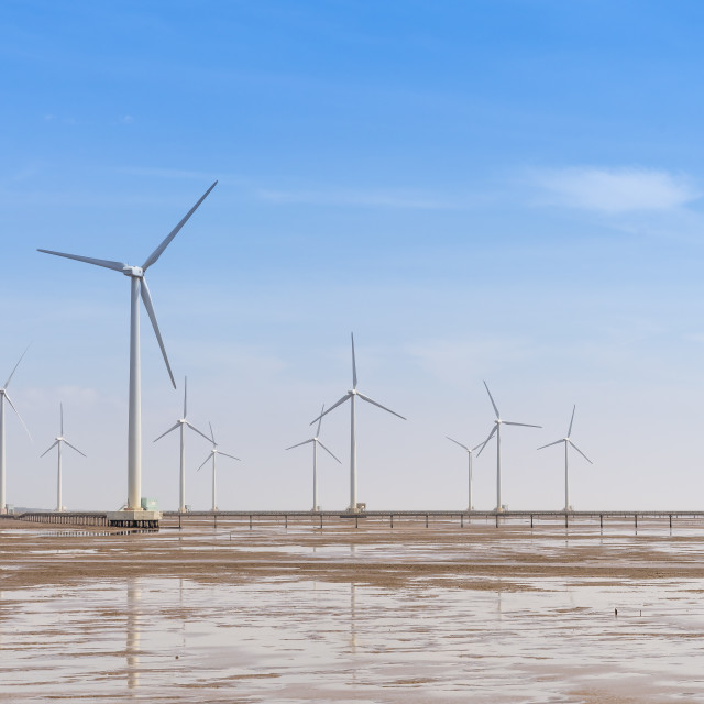 """Seascape with Turbine Green Energy Electricity,"" stock image"