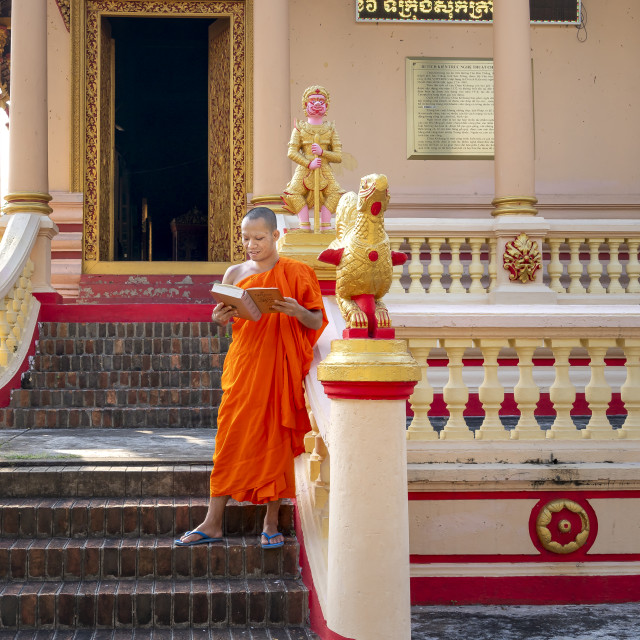 """The daily activity of Buddha monks at Kh'leang Pagoda is ancient in Soc Trang province, Vietnam"" stock image"