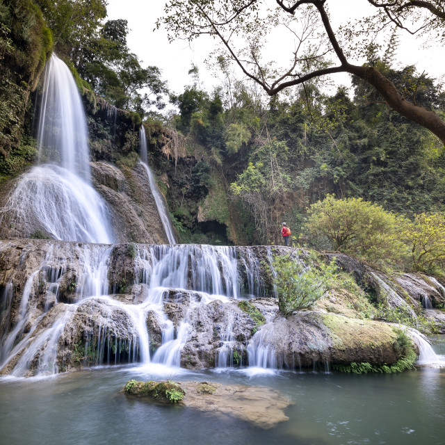 """Dai Yem waterfall. This is a nice waterfall in Moc Chau, Son La province, Vietnam"" stock image"