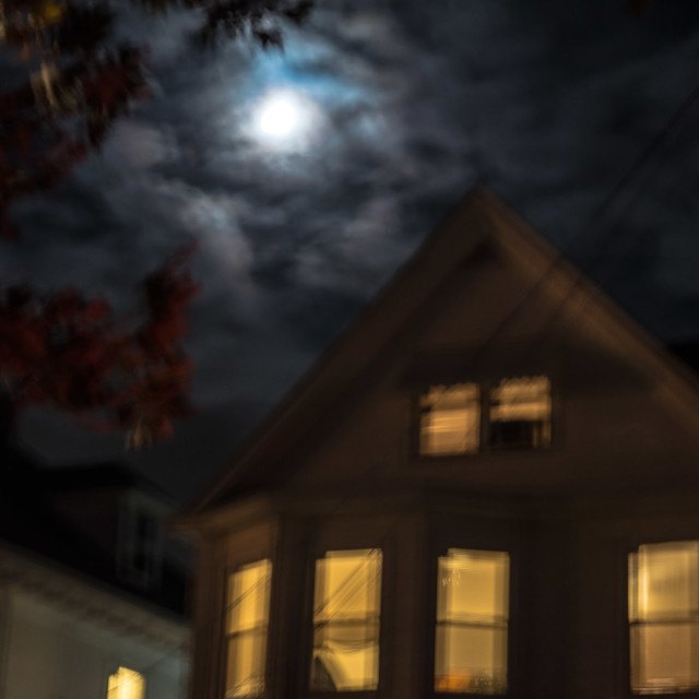 """SPOOKY HOUSE WITH CLOUDED MOON"" stock image"