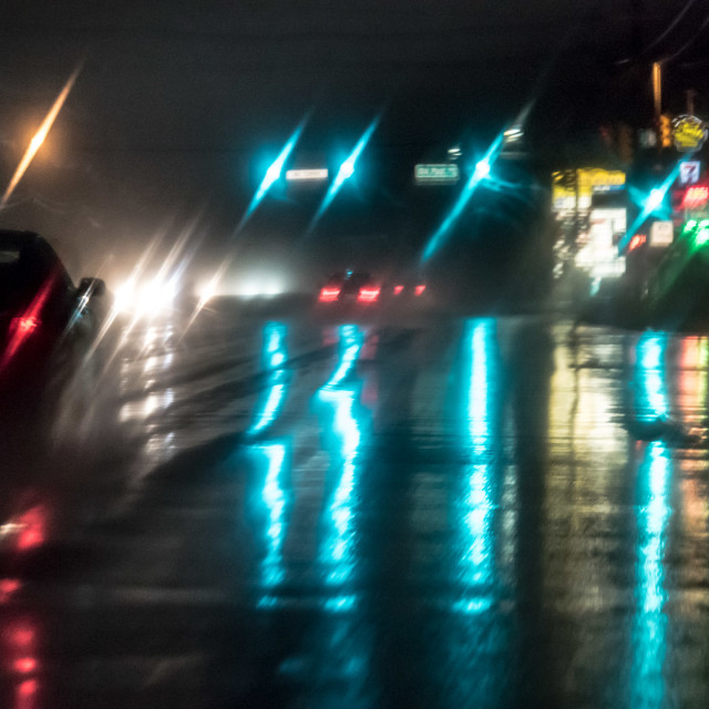 """NJ TURNPIKE IN THE RAIN"" stock image"