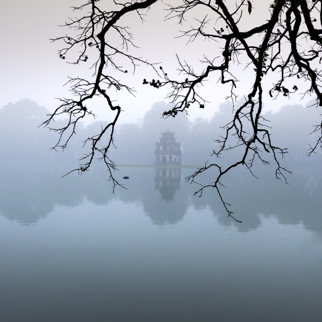 """Hoan Kiem Lake ( Ho Guom) in the center of Hanoi in the fog in the morning."" stock image"