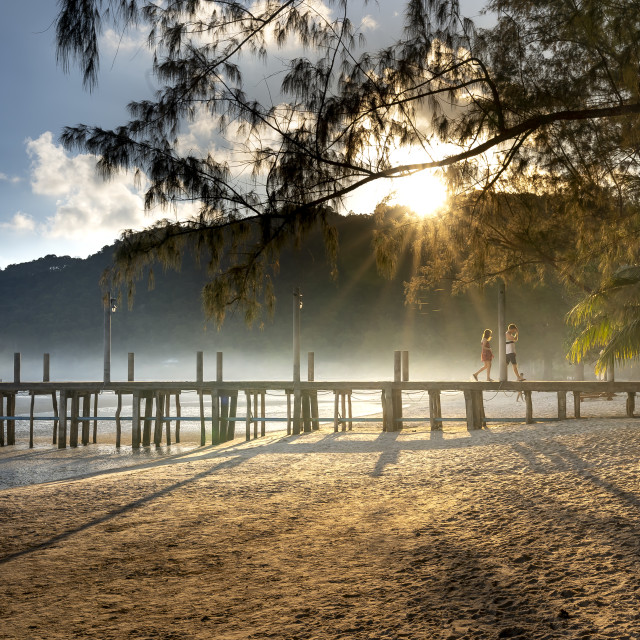 """""""Dawn on Pier on the beach of Koh Rong Samloem island in Cambodia"""" stock image"""