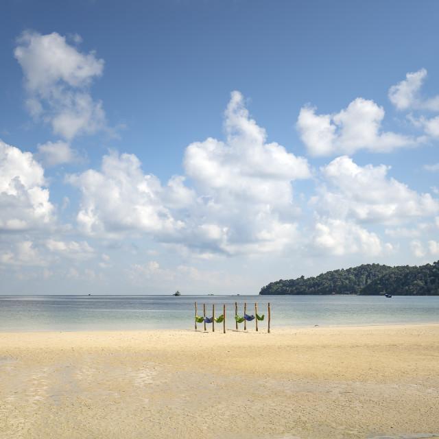 """""""The hammocks in the sea on paradise island Villa Koh Rong Samloem. Cambodia."""" stock image"""