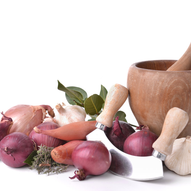 """""""onions, garlics and shallots with a manual chopper and pestle on white background"""" stock image"""