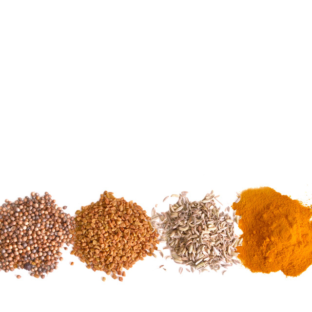 """""""heaps of indian powder spices"""" stock image"""