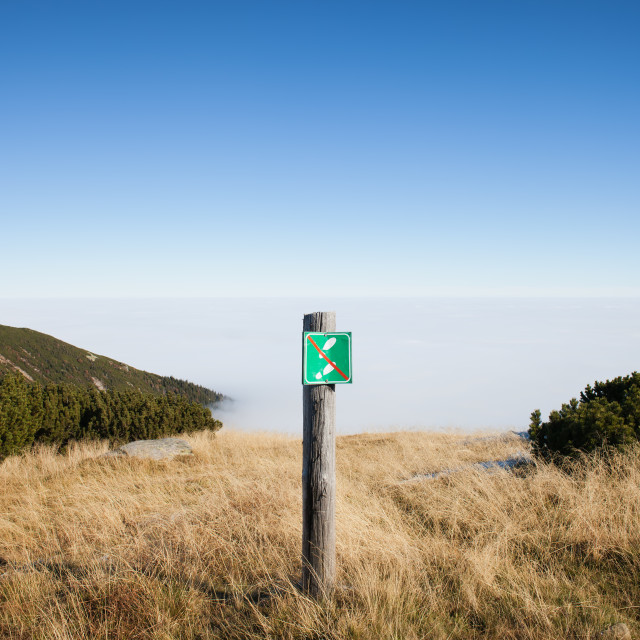 """No Entry Warning Sign on Mountain Meadow"" stock image"