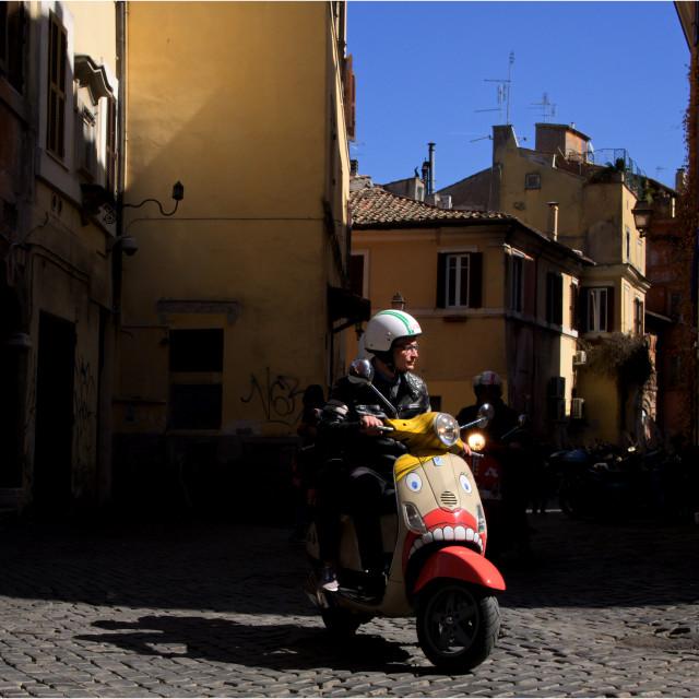 """""""Custom Scooter In Rome, Trastevere"""" stock image"""