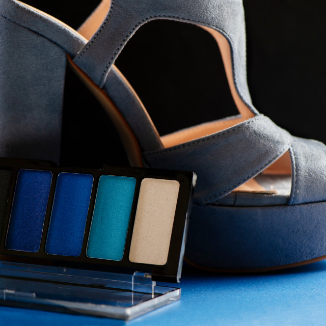 """""""Blue set of eyeshadows and modern wide-heeled shoes"""" stock image"""
