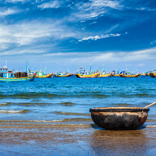 """""""Fishing boat on beach. Mui Ne, Vietnam"""" stock image"""