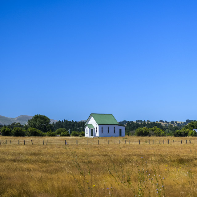 """""""Country church and farm fields; Martinborough, South Wairarapa District,..."""" stock image"""