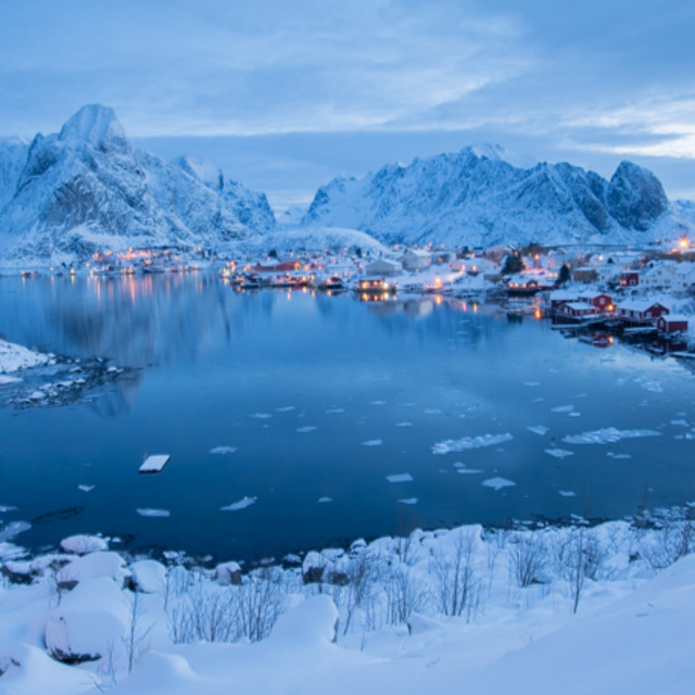 """Blue hour, Norway"" stock image"