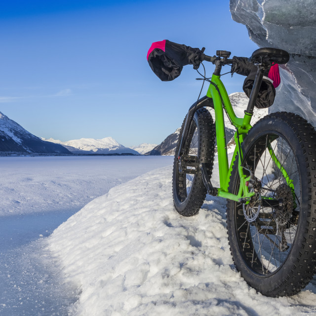 """""""Green Fatbike 907 Whiteout bike resting on giant iceberg in winter on Portage..."""" stock image"""