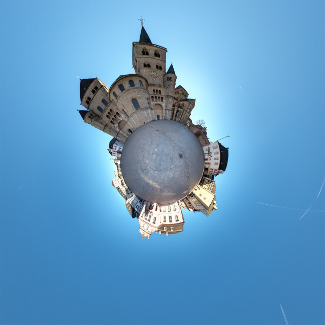 """""""Little Planet Vista - Trier Main Square Germany"""" stock image"""