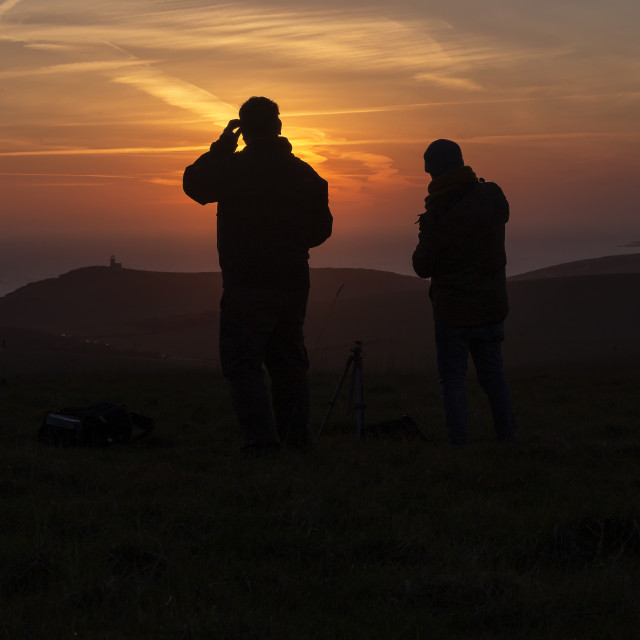 """""""Watching the sunset"""" stock image"""