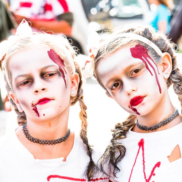 """ZOMBIES AT THE ASBURY PARK, NJ ZOMBIE WALK"" stock image"