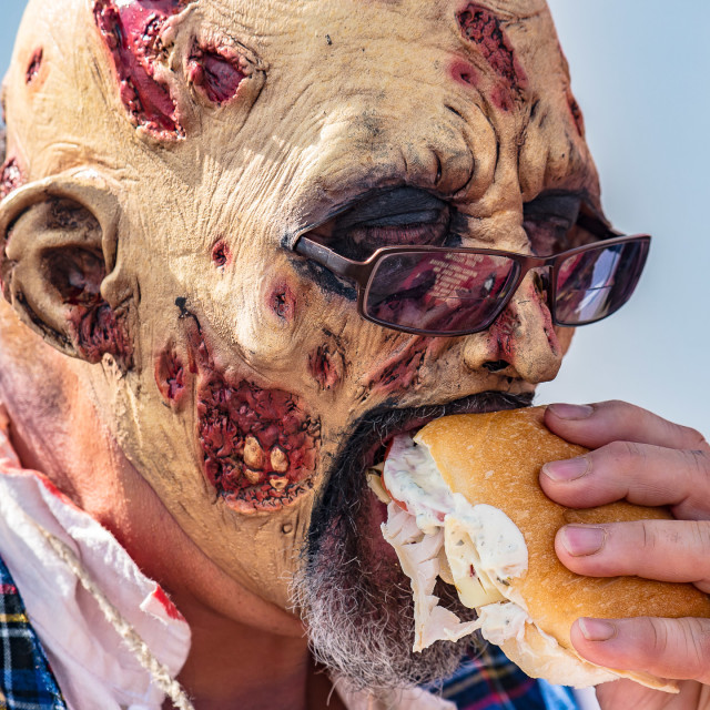 """""""ZOMBIE EATING A SANDWICH"""" stock image"""