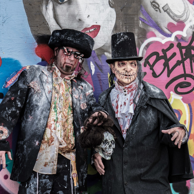 """""""ZOMBIES IN FRONT OF AMY WINEHOUSE MURAL"""" stock image"""
