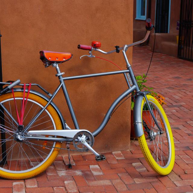 """CRUISER BICYCLE IN ALBUQUERQUE, NEW MEXICO"" stock image"
