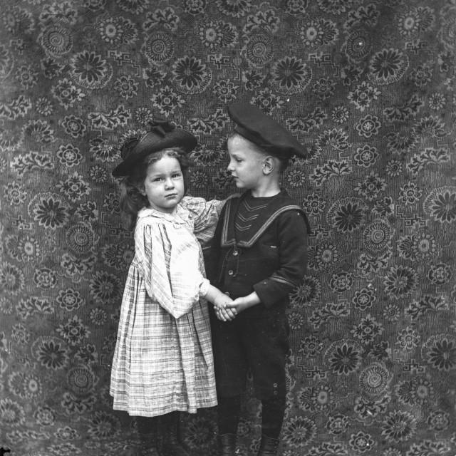"""VINTAGE PORTRAIT OF CHILDREN DANCING"" stock image"