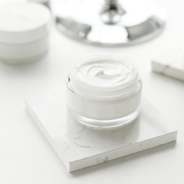 """Luxury skincare cosmetics in a bathroom"" stock image"