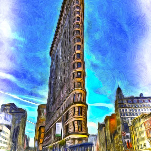 """Flatiron Building Van Gogh"" stock image"