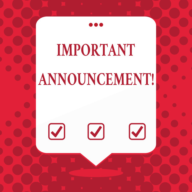 """Handwriting text Important Announcement. Concept meaning spoken statement..."" stock image"
