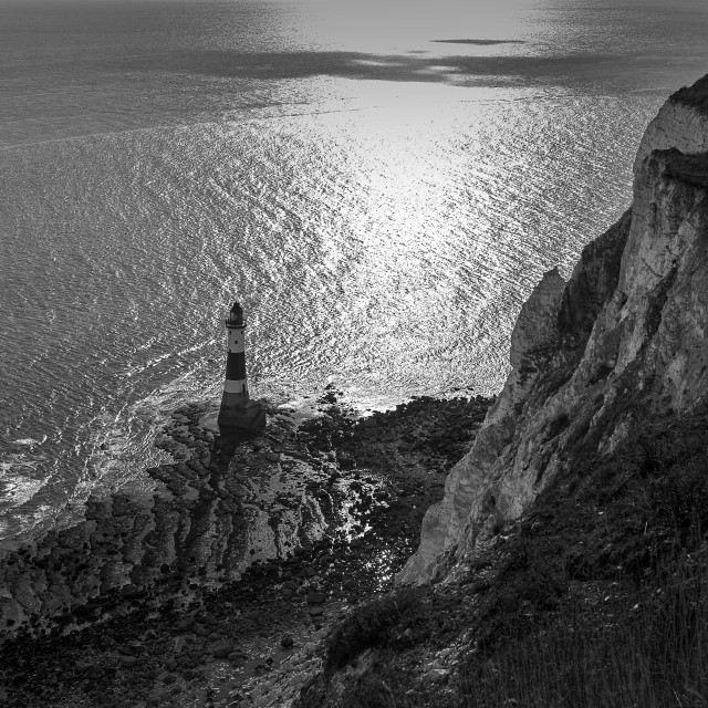 """""""Beachy Head Lighthouse Black and WHite"""" stock image"""
