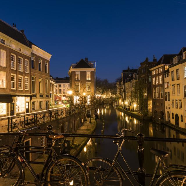 """""""Utrecht Oude Gracht Bikes Night"""" stock image"""