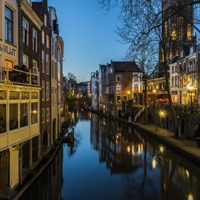"""Utrecht Oude Gracht Night"" stock image"