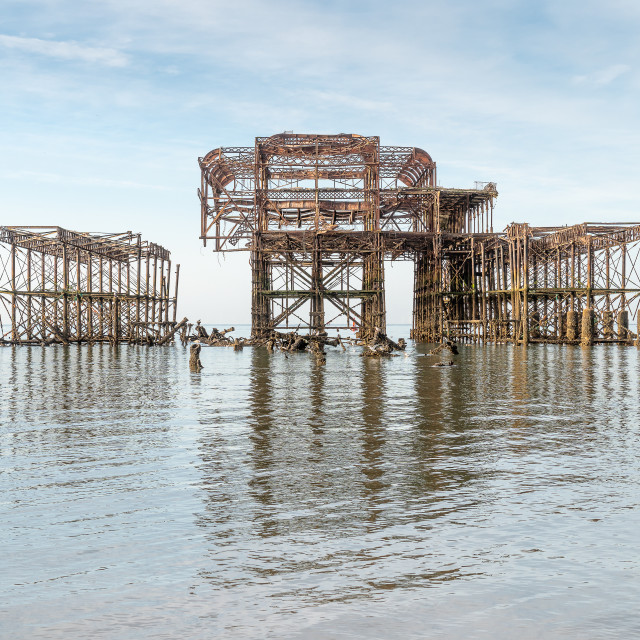 """""""West Pier at sunrise and low tide 2"""" stock image"""