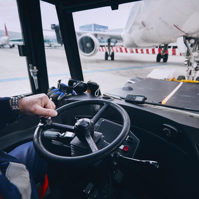 """Preparation of airplane before flight"" stock image"