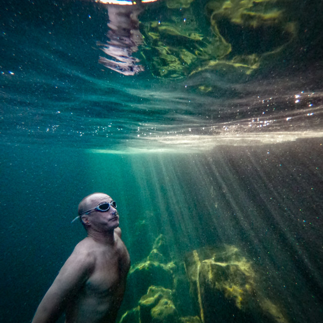 """Free diver rising"" stock image"
