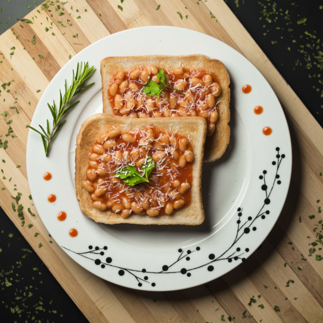 """Beans on the toast"" stock image"