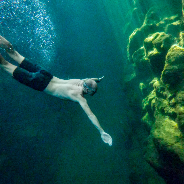 """Free diver underwater"" stock image"