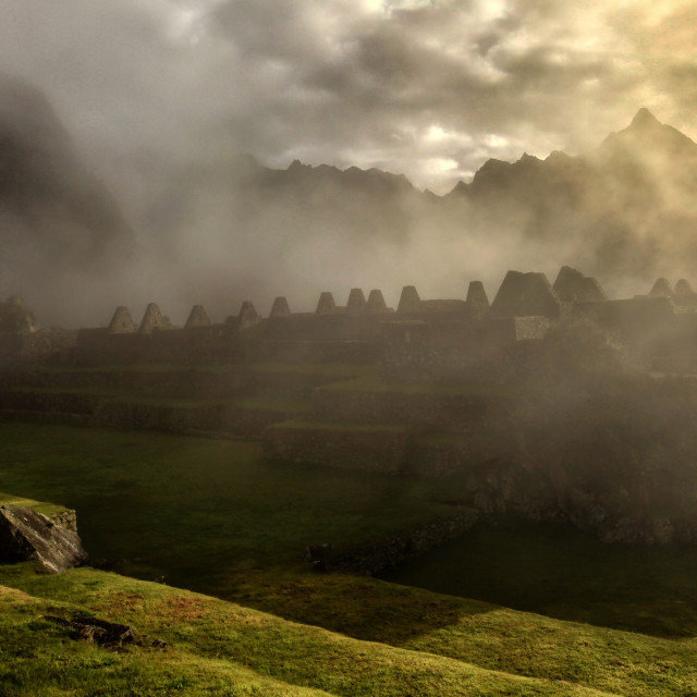 """Misty morning at Machu Picchu"" stock image"
