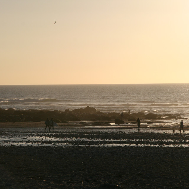 """Porthtowan Surfers"" stock image"