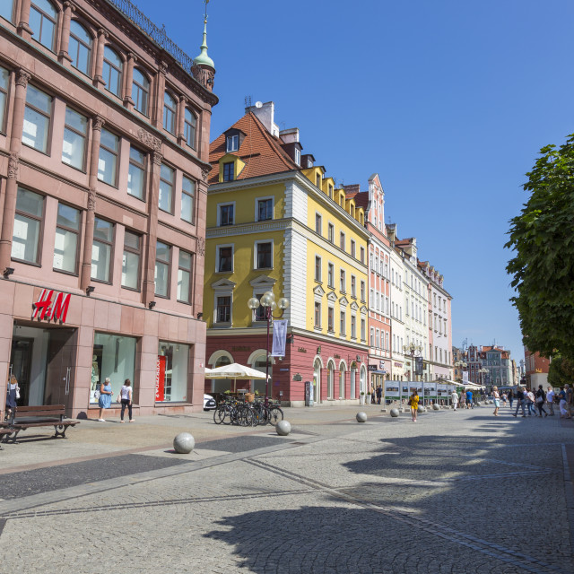 """""""Wroclaw, Poland - July 09, 2018: Swidnicka street in the center of Wroclaw, Poland"""" stock image"""