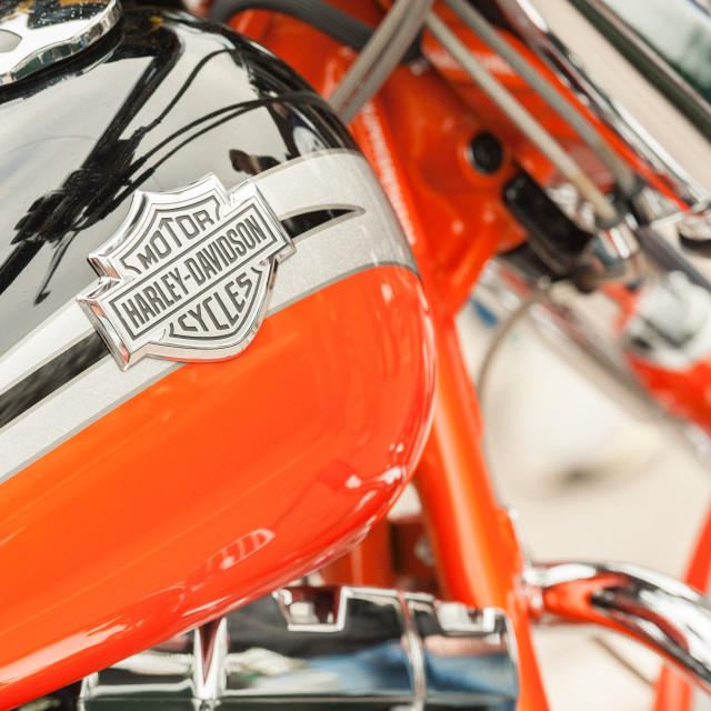 """Harley Davidson motorcycle close-up"" stock image"