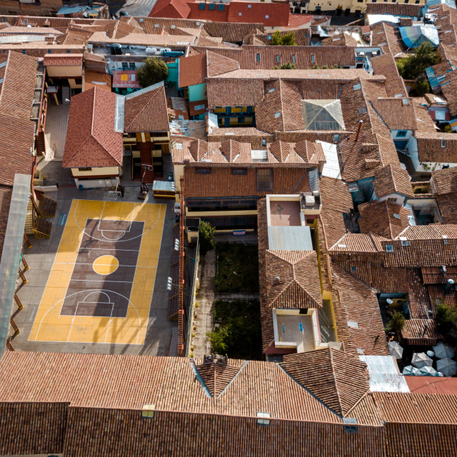 """aerial of a basketball court in Cuzco Peru"" stock image"