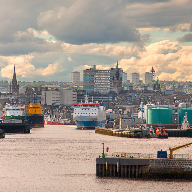 """""""Aberdeen harbour and city"""" stock image"""