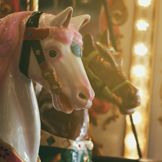 """Carousel Horses at a fairground"" stock image"