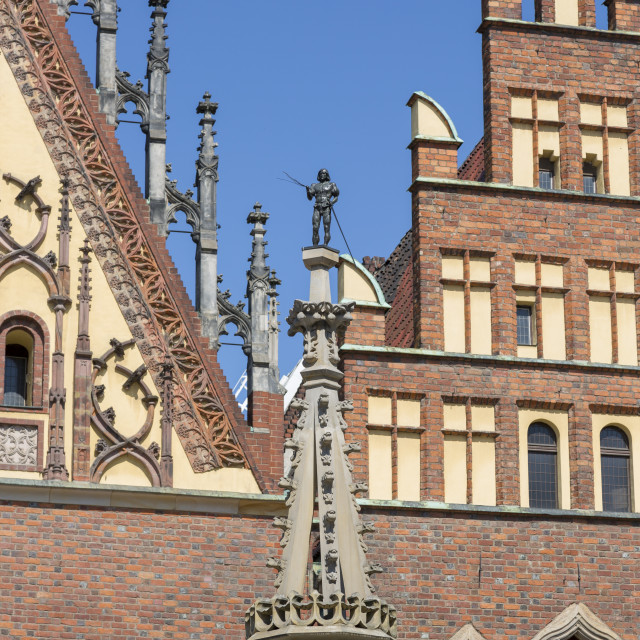 """""""Wroclaw, Poland - July 09, 2018: Fragment of the Pillory in the Market Square of Wroclaw, Poland"""" stock image"""