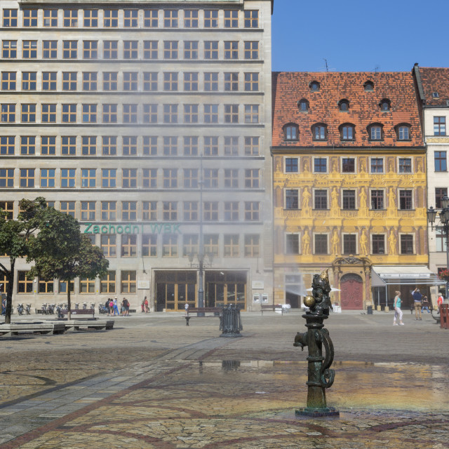 """""""Wroclaw, Poland - July 09, 2018: Dwarf fountain on the Market Square of Wroclaw, Poland"""" stock image"""