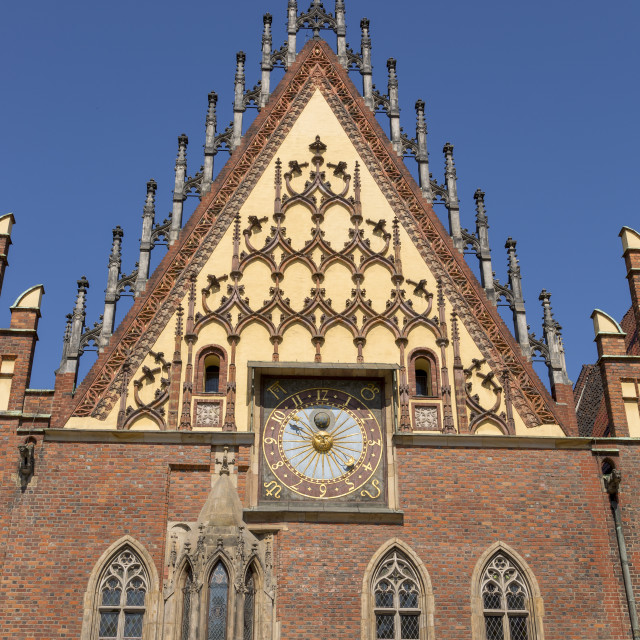 """""""Wroclaw, Poland - July 09, 2018: The Clock Tower on the City Hall of Wroclaw, Poland"""" stock image"""