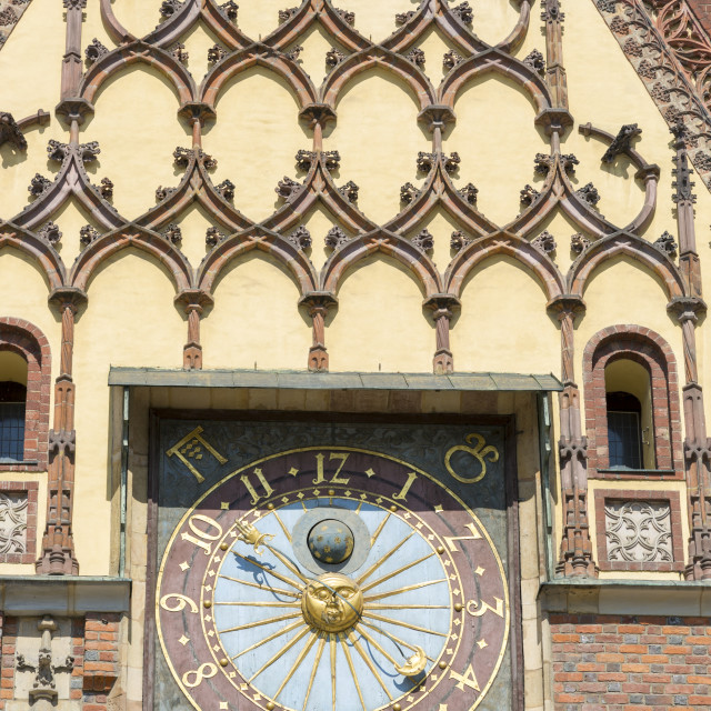 """""""Wroclaw, Poland - July 09, 2018: Clock on the City Hall of Wroclaw, Poland"""" stock image"""